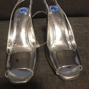 BCBGirls Silver Peep Toe Heels